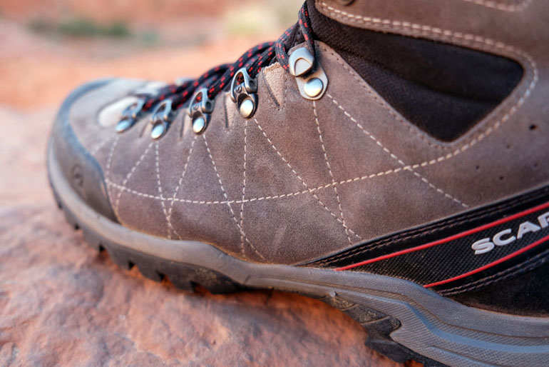 Hiking boot leather uppers