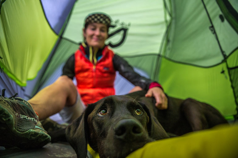 Nemo Hornet tent with dog