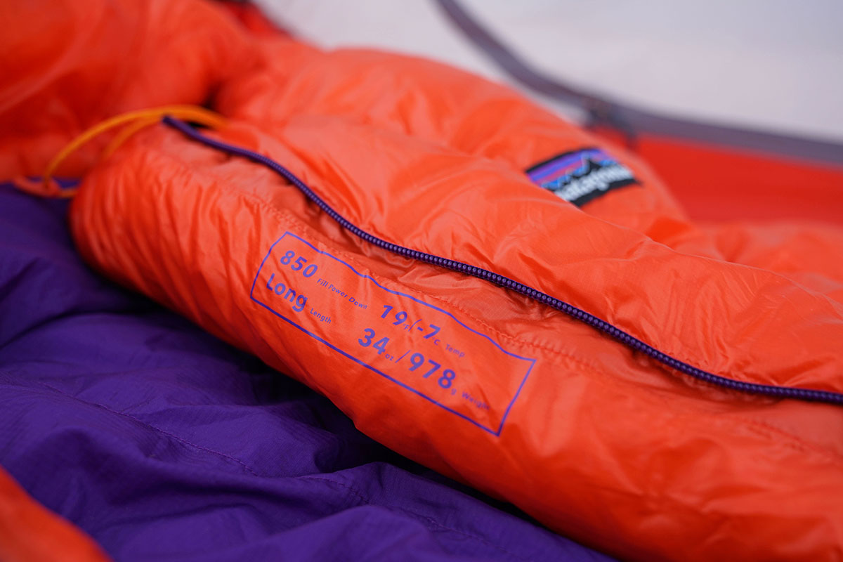 Patagonia 850 Down Sleeping Bag (temperature rating)