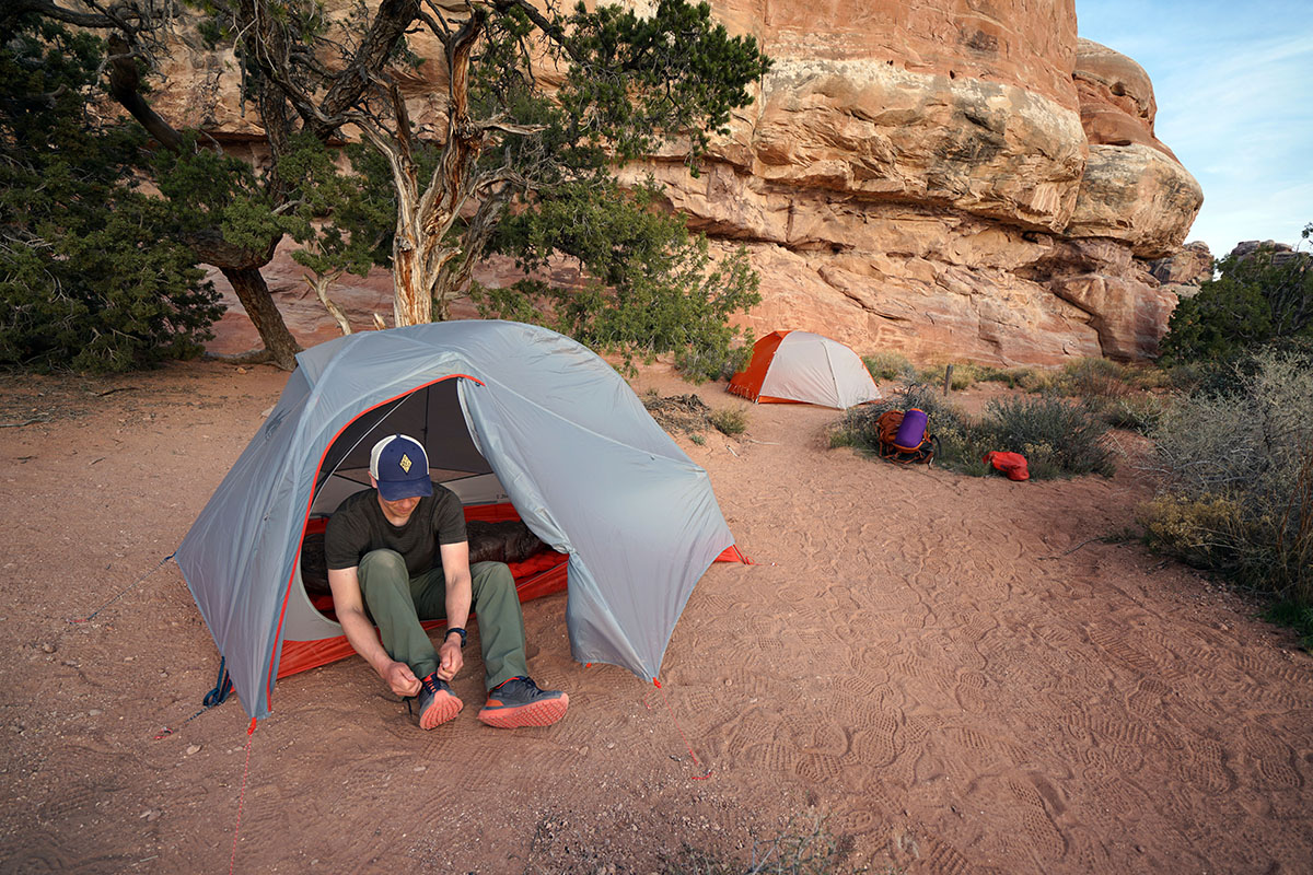 REI Quarter Dome (tying shoes)