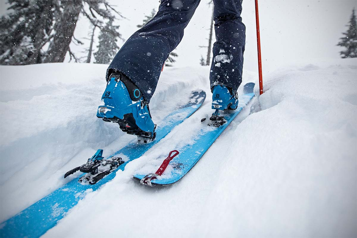 Backcountry ski boots (skinning uphill)