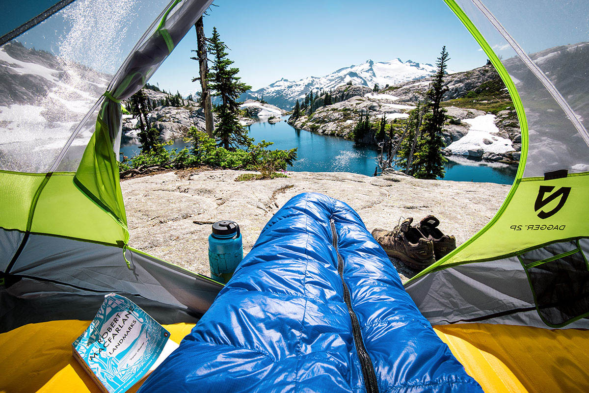 Backpacking sleeping bag (view out of tent)