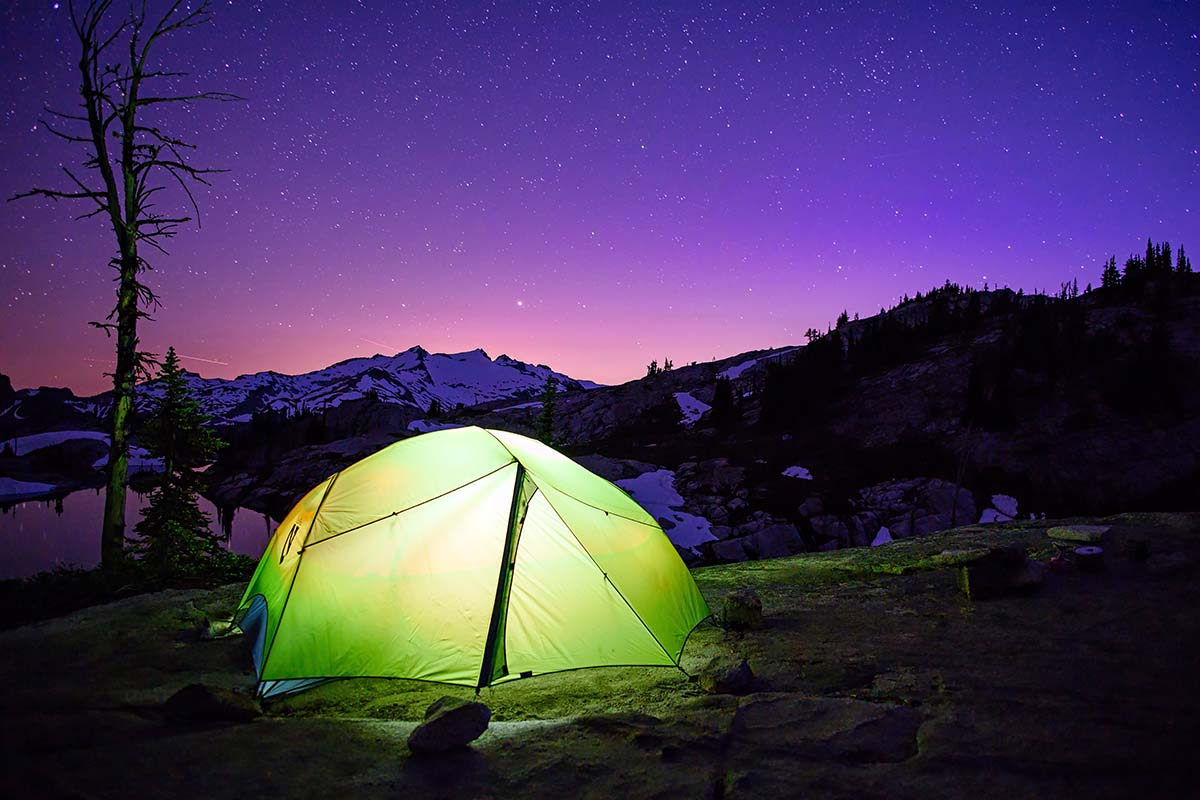 Backpacking tent (Nemo Dagger at night)