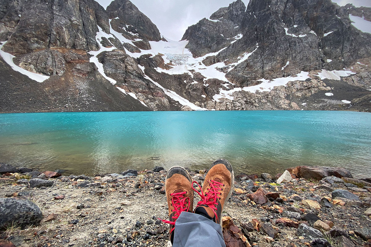 Danner Trail 2650 hiking shoes (resting at alpine lake)