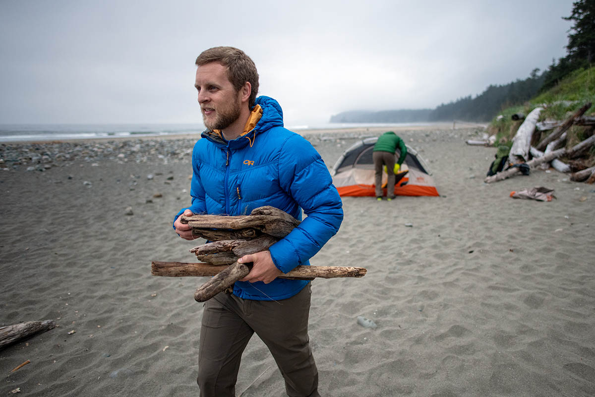 Outdoor Research Transcendent Hoody (collecting wood on beach)