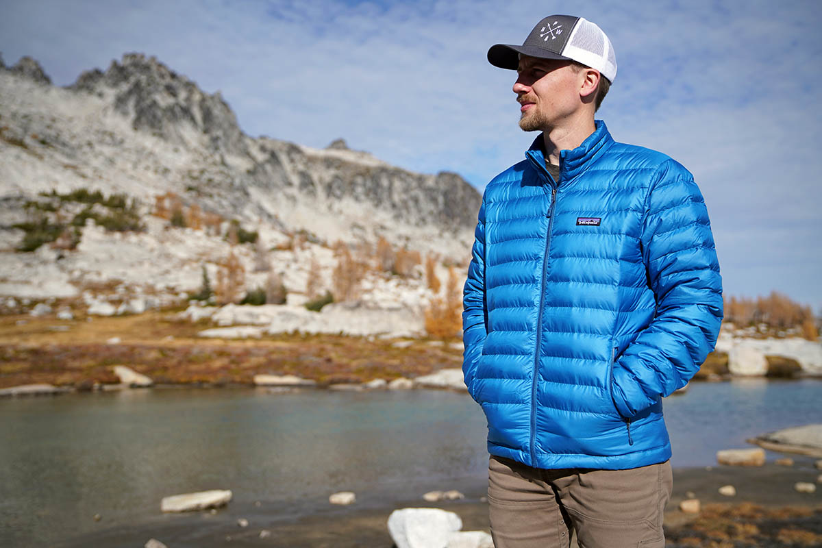 Patagonia Down Sweater (standing in front of lake)