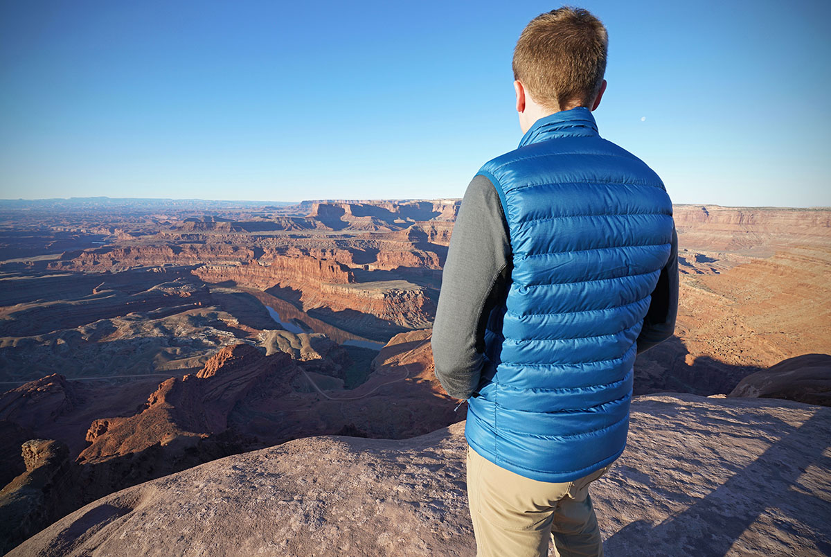 Patagonia Down Sweater Vest (overlooking canyon)