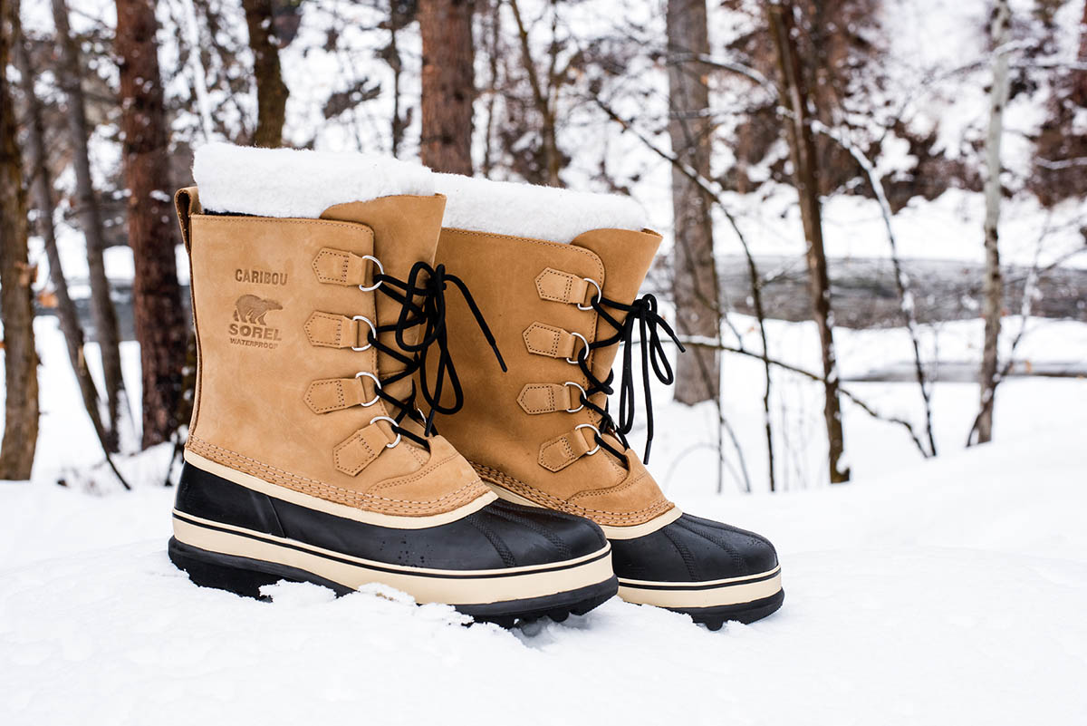 Winter Boots (Sorel Caribou in snow)
