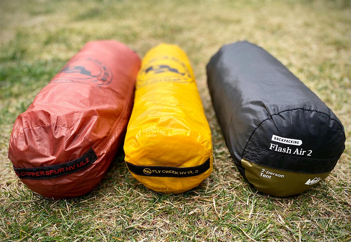 Backpacking tent lineup (Fly Creek, Copper Spur, and Flash Air)