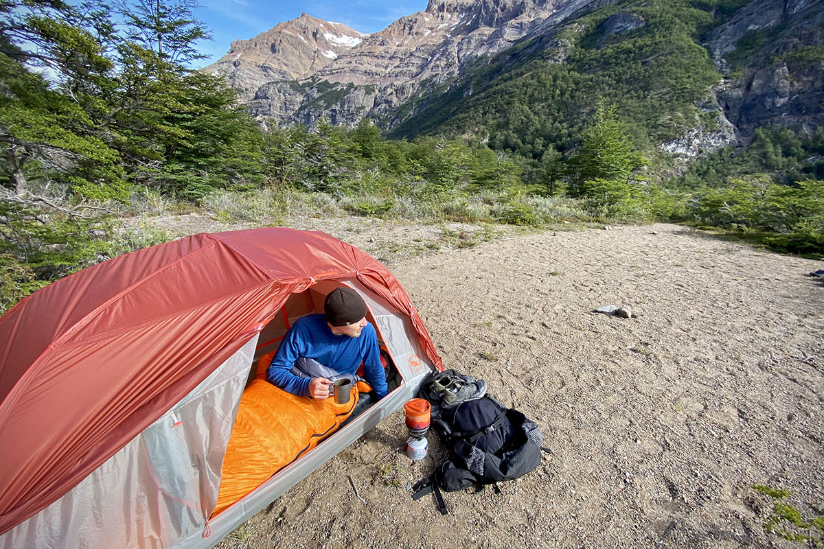 Big Agnes Copper Spur backpacking tent (morning in valley)