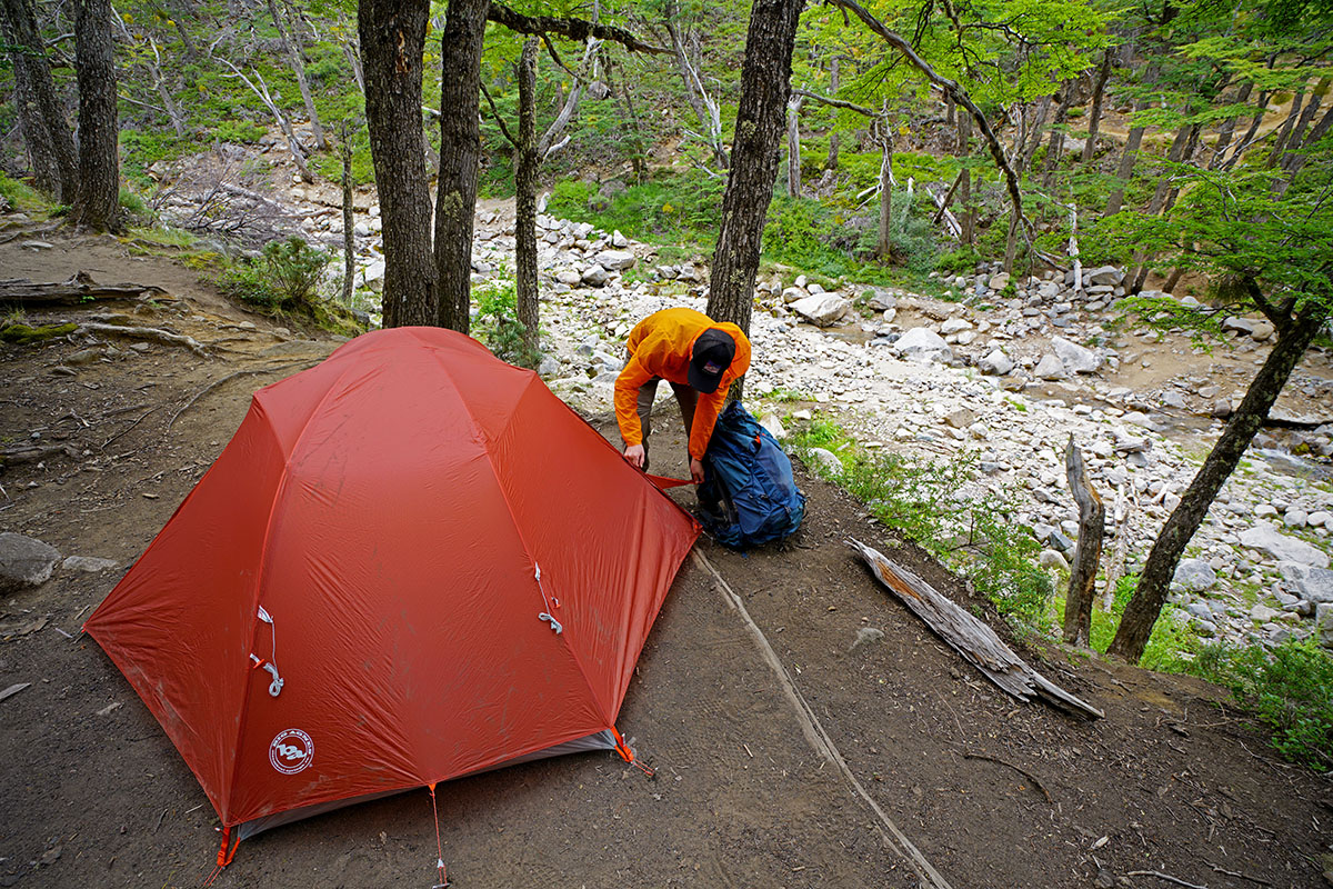 Big Agnes Copper Spur backpacking tent (setting up in forest)