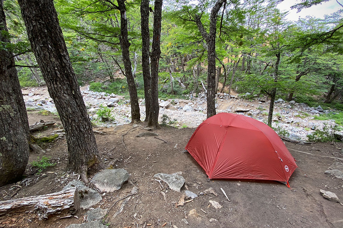 Big Agnes Copper Spur backpacking tent (campsite in forest)
