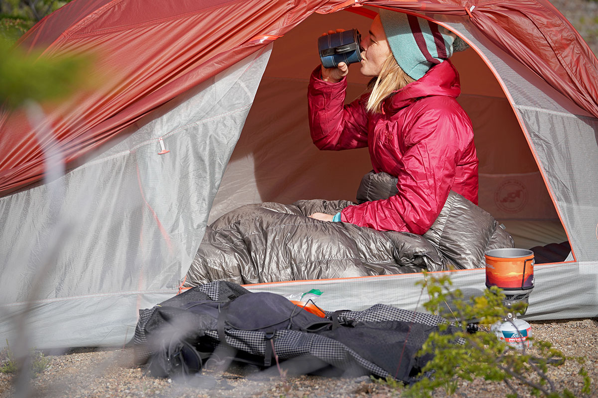 Big Agnes Copper Spur backpacking tent (drinking coffee)