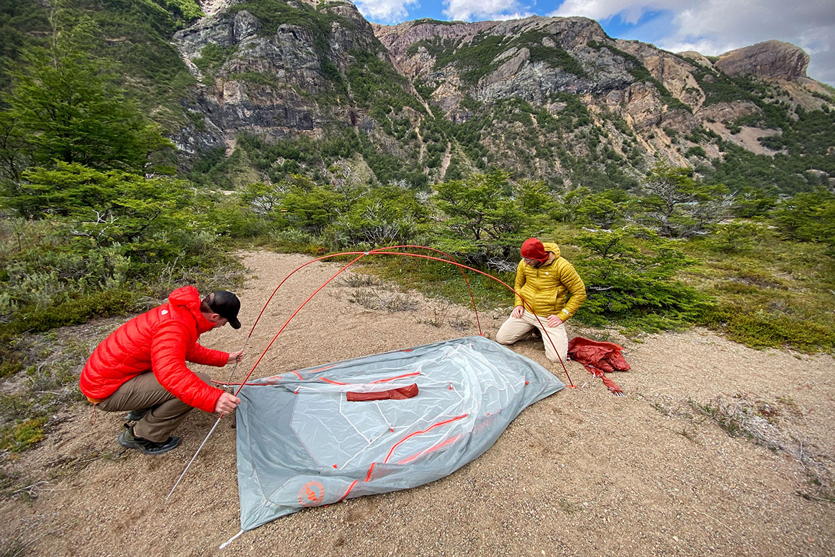 Big Agnes Copper Spur backpacking tent (set-up process)