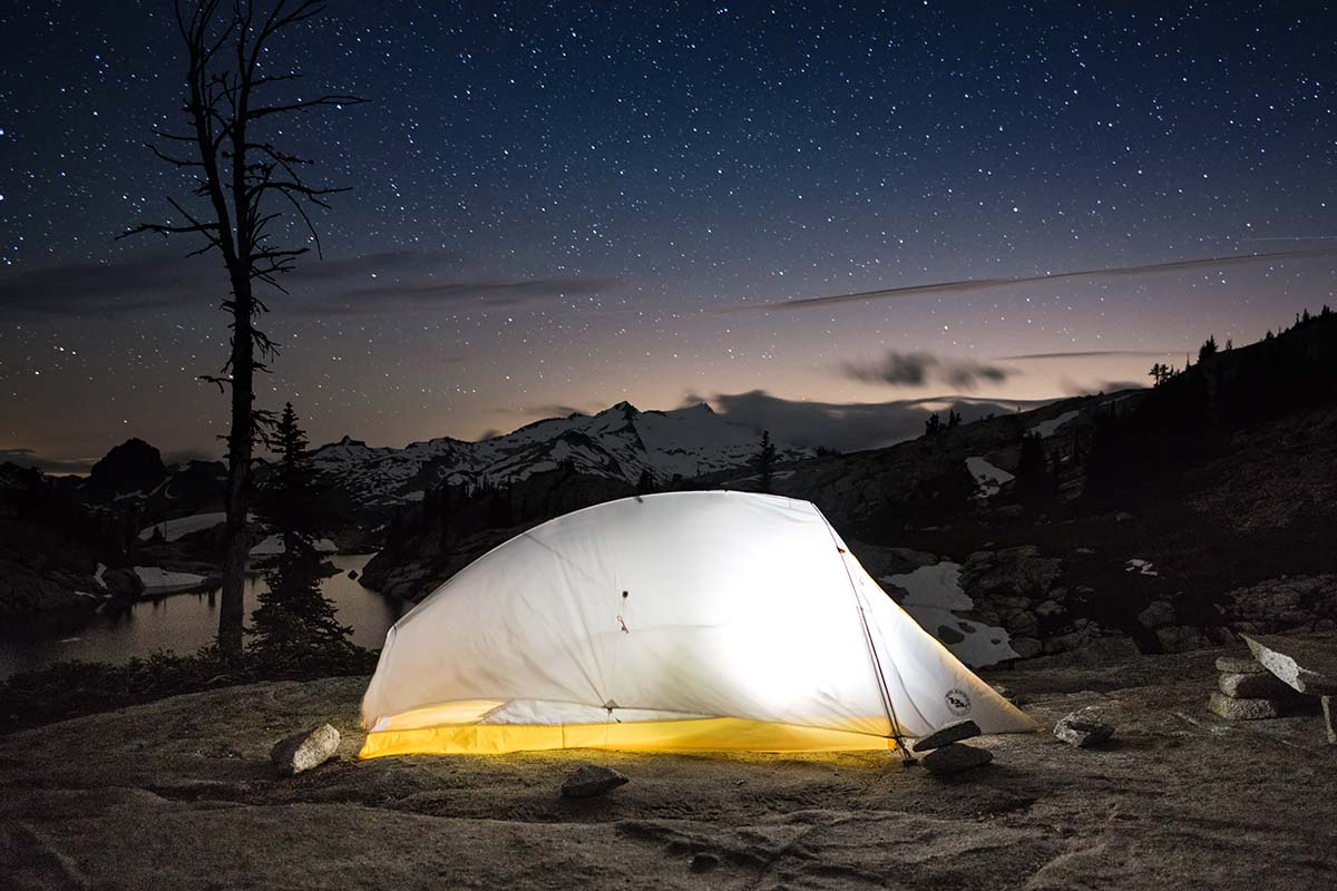 Big Agnes Fly Creek HV UL2 backpacking tent night sky