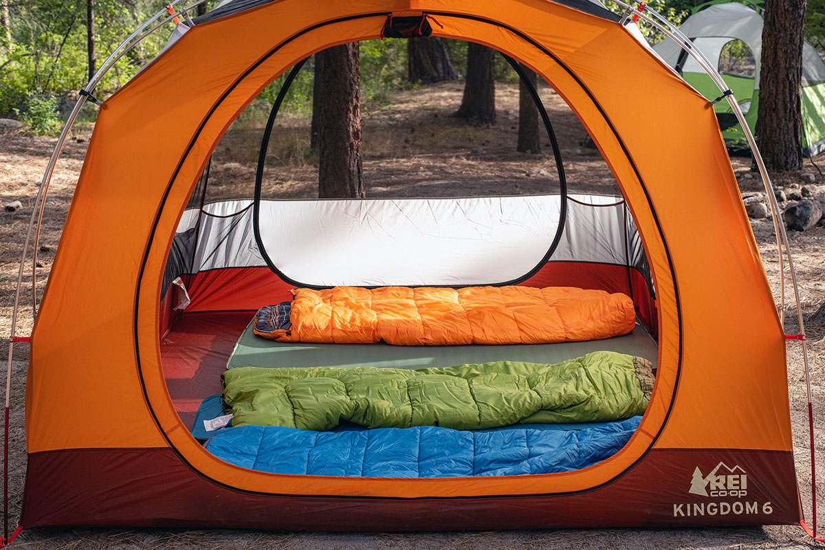 Camping sleeping bags in tent
