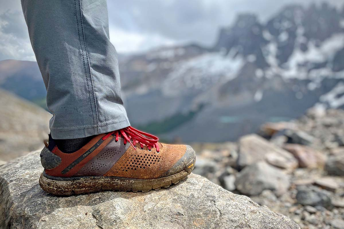 Danner Trail 2650 hiking shoes (on rock in Patagonia)