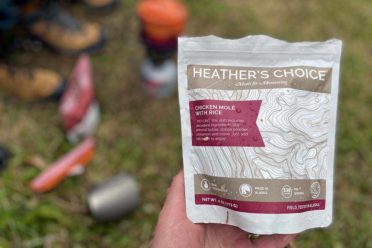 Heather's Choice backpacking meal gluten-free