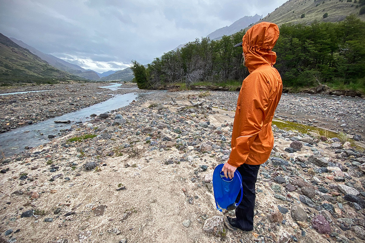Outdoor Research Helium (standing by river in Patagonia)