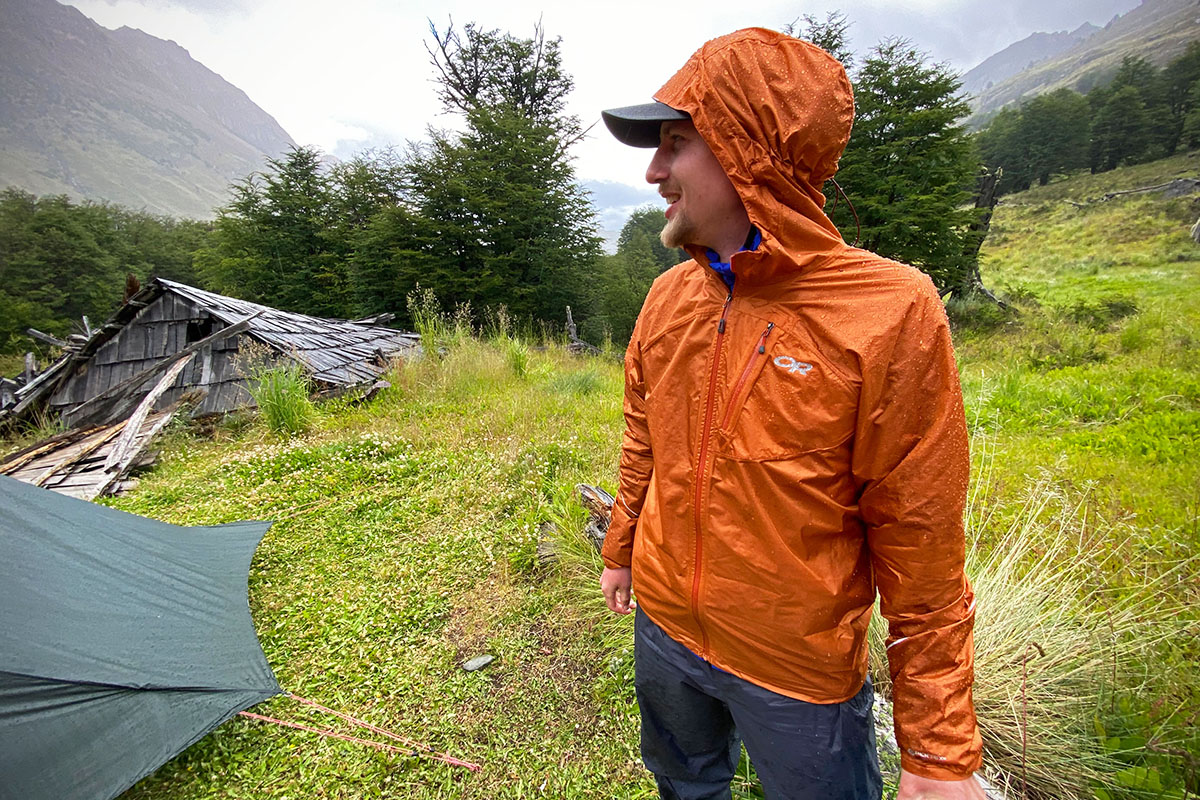 Outdoor Research Helium rain jacket (at campsite)
