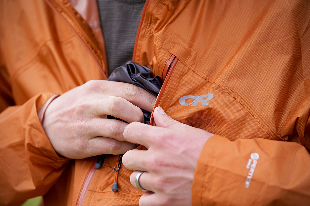 Outdoor Research Helium rain jacket (chest pocket)