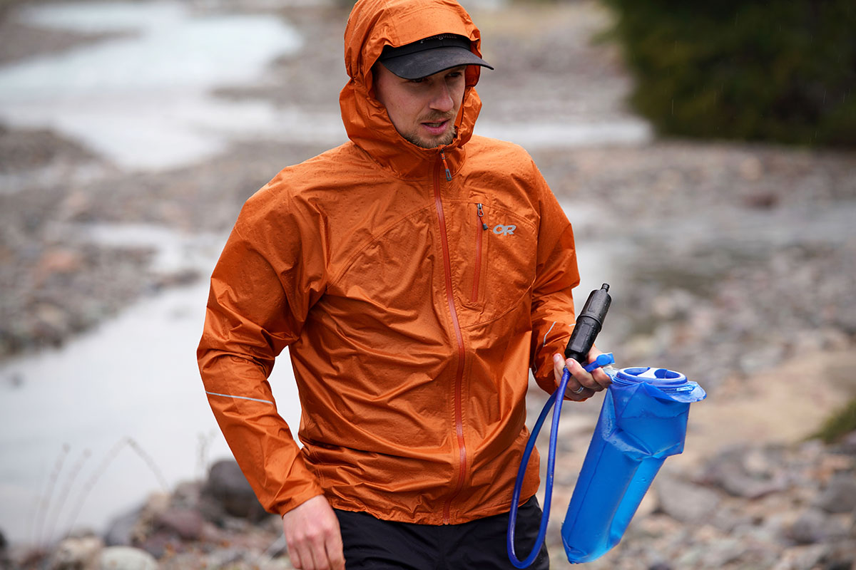 Outdoor Research Helium rain jacket (rainy conditions in Patagonia)