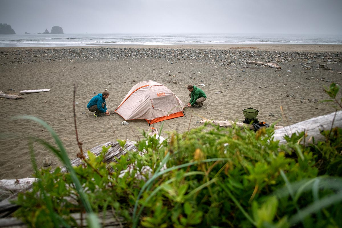 REI Co-op Passage backpacking tent (setting up on Olympic Coast)