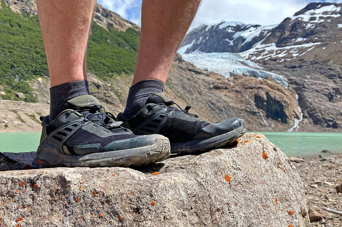 Salomon X Raise Low hiking shoes (by glacier and lake)