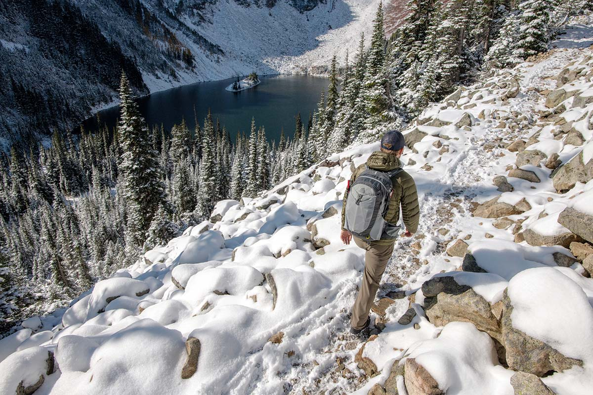 Salomon X Ultra Winter CS WP 2 winter boot (hiking on snowy trail above lake)