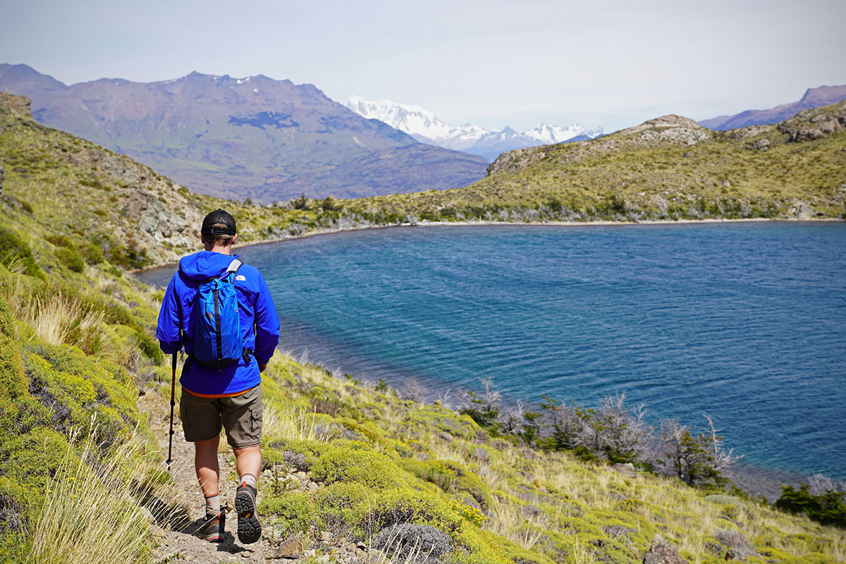 Vasque Breeze AT Mid hiking boots (hiking by lake in Patagonia)