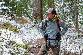 Arc'teryx Beta LT hardshell jacket (hiking in snowy forest)