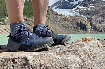 Arc'teryx Konseal FL approach shoe (standing in front of lake)