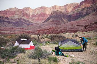 Backpacking tents (Nemo Dagger and MSR Hubba Hubba NX in Grand Canyon)