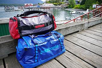 Eagle Creek Cargo Hauler and Patagonia Black Hole duffel bags in Tofino