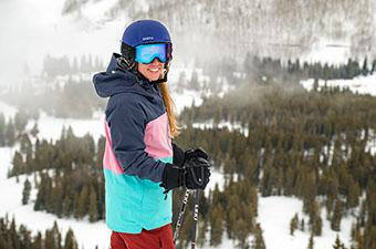 Flylow Gear Lucy Jacket (smiling overlooking ski run)