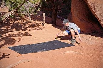 Footprint for backpacking tent (laying down footprint in desert)