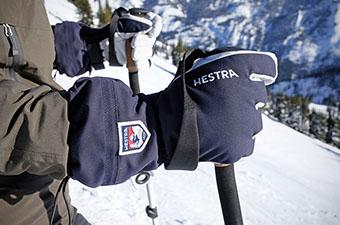 Hestra Heli ski gloves (gripping ski pole)