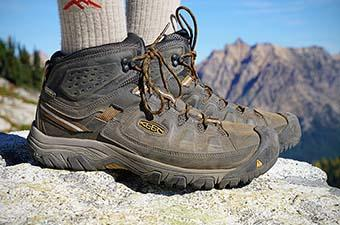 Keen Targhee III boots (standing on rock)