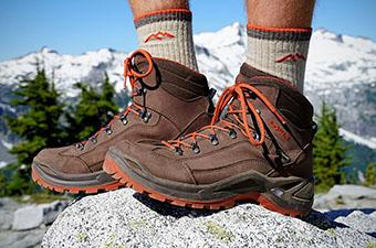 Lowa Renegade hiking boots (standing on rock)