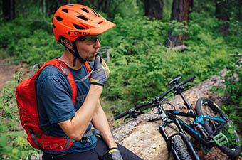 Mountain bike helmet (resting during ride)