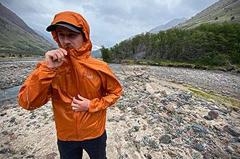 Outdoor Research Helium rain jacket (zipping up)