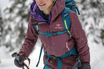 Wearing Arc'teryx Beta FL hardshell jacket while backcounty skiing