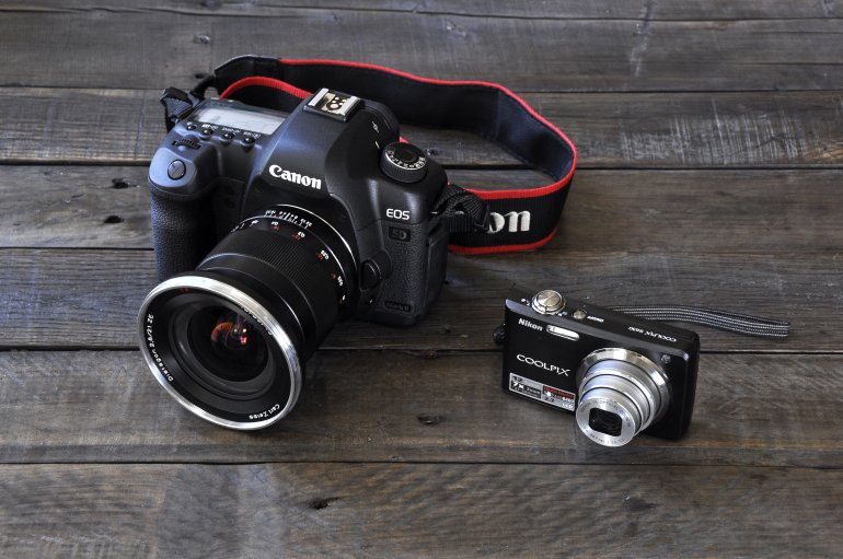 Digital SLR and point-and-shoot size comparison