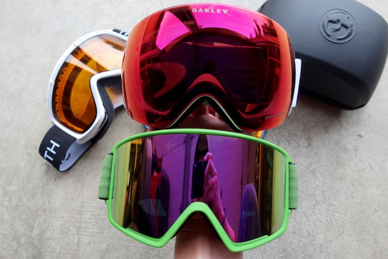 oakley ski helmets 7ha6  The frameless Oakley Flight Deck top and the framed Anon M3 bottom