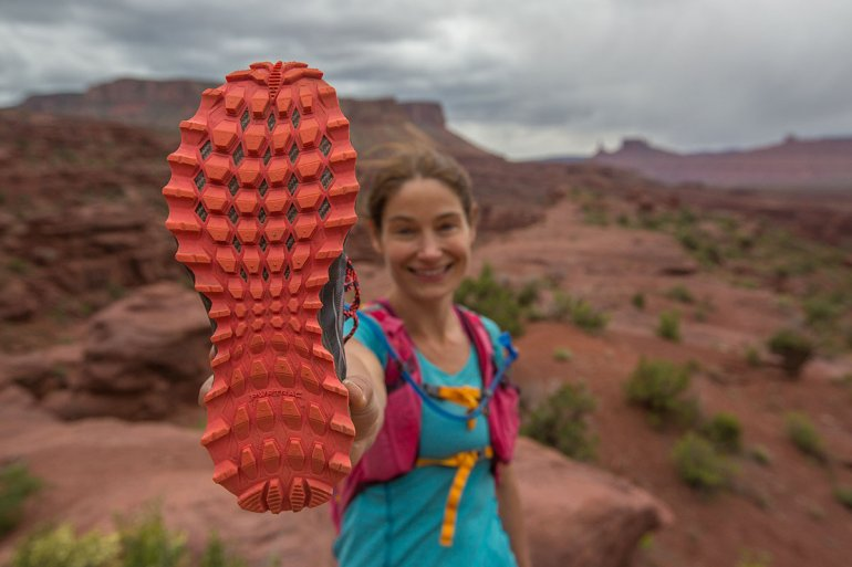Trail-running shoe traction
