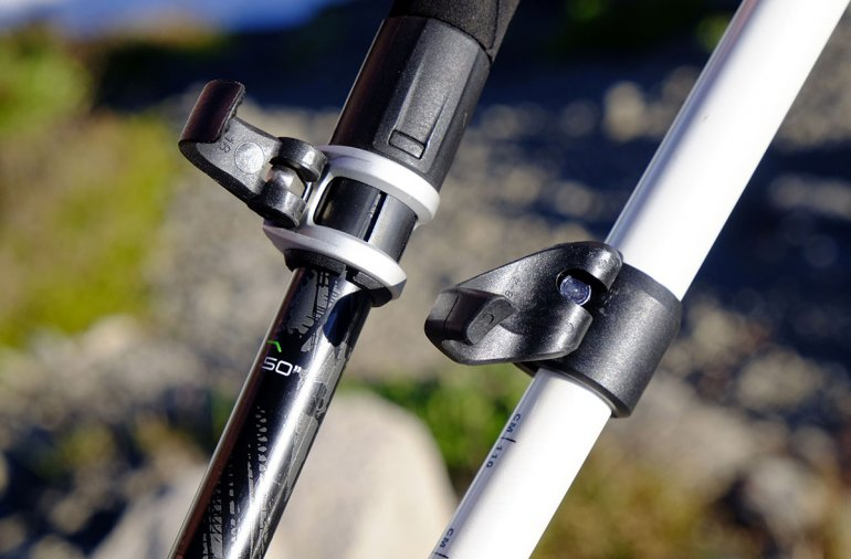 Trekking pole locking mechanisms