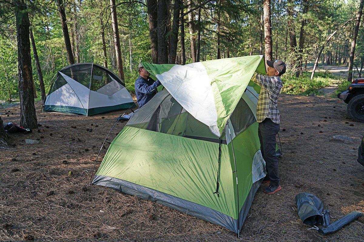 Camping tent rainfly setup